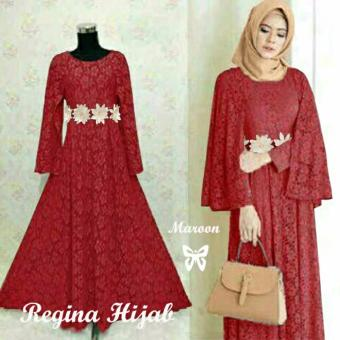 Hasanah Fashion Regina Maxi Dress - Maroon
