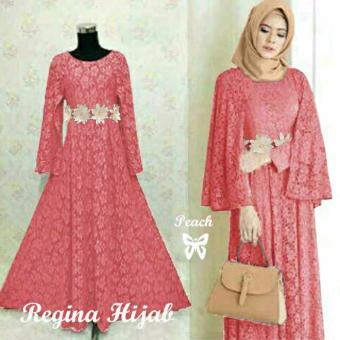 Hasanah Fashion Regina Maxi Dress - Peach