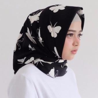 Hijab-Jilbab Kerudung Segi Empat Kupu2-WoolPeach-Butterfly-Black