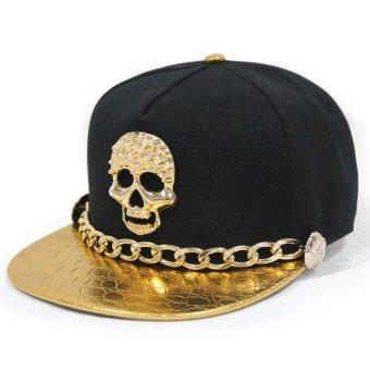 Hip Hop Topi Yang Dapat Disesuaikan Berhias Tengkorak Logam Snapback Baseball Cap With Rantai Emas-