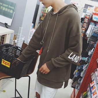 Longgar Korea Fashion Style Pria Siswa Hoodie Pullover Berkerudung Kaos Sweater (Kopi warna)