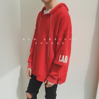 Longgar Korea Fashion Style Pria Siswa Hoodie Pullover Berkerudung Kaos Sweater (Merah)