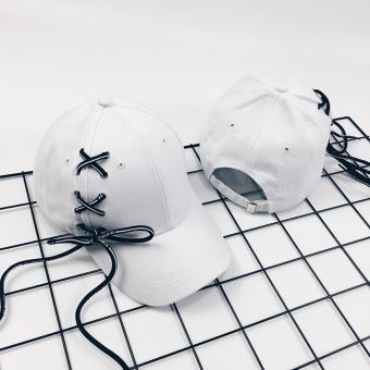 Hitam Korea Fashion Style Musim Panas Panjang Tali Topi Baseball (Sisi  Stagen Putih) 3949e91947