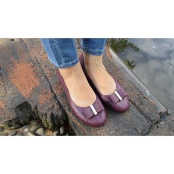 HSSHOPID Flat Shoes Kerja Karet Wanita Motif Pita 5236 - Ungu