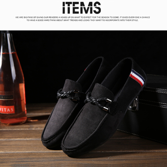 Harga Men's Casual Suede Loafer Casual Moccasins Driving Shoes Black