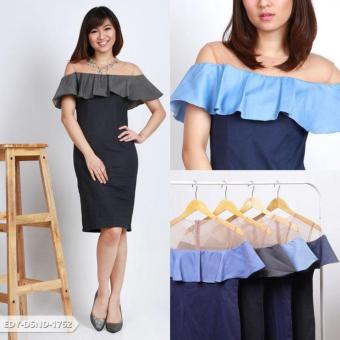 Harga Arina Plain Two Tone Mini Dress - Navy Blue