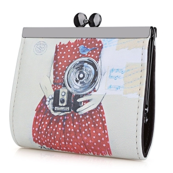 Harga Vintage Camera Graffiti Oil Painting Metal Frame Purse Coin Case for Lady - intl