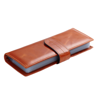 Harga Card Wallet, Boshiho Oil Waxy Genuine Leather Credit Card Holder Business Name ID Card Case Book Style 56 Card Slots(Brown)