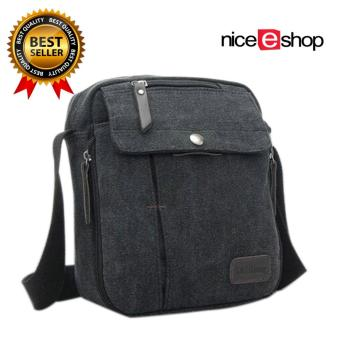 niceEshop Mutifunctional bahu laki-laki tunggal Crossbody Bag (Hitam)
