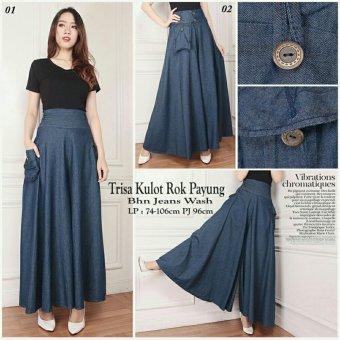 ... Harga Sb Collection Celana Kulot Rok Trisa Jeans Long Pant Jumbo Biru Tua