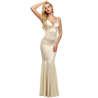 Harga SuperCart ANGVNS Elegant Women Strap Backless Bodycon Solid Floor-length Dress Full Gown (Nude)