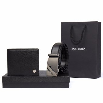 Harga Bostanten Men's Genuine Leather Belts And Genuine Cowhide Leather Bifold Wallet Gift Box Black - intl