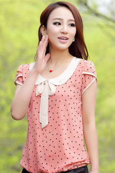 Harga ETOP Casual Sweet Women Ladies Chiffon Dot Doll Collar Short Sleeve Tops Blouse M-XXL (Pinkl) - intl