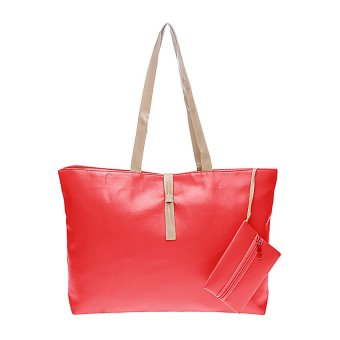Harga Tas Korea Mode Fashion PU Leather Tote Shoulder Handbag Bags - Merah