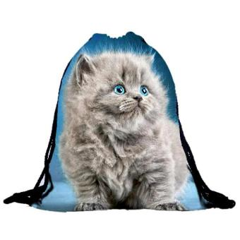 Harga Unisex Cat Backpacks 3D Printing Bags Drawstring Backpack - intl