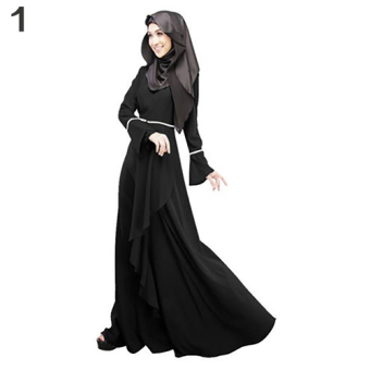 Harga Bluelans Women Ethnic Pure Color Abaya Jilbab Muslim Islamic Flouncing Maxi Dress L (Black) - intl