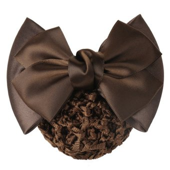 Harga Okdeals Women Bow Barrette Hair Clip Cover Bowknot Bun Snood Hair Accessories Coffee