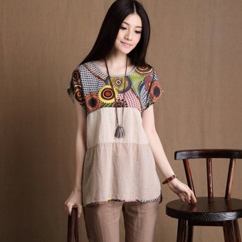Harga ZANZEA Vintage Ethnic Women Short Sleeve Striped Maternity Tops Plus Size - Intl - intl