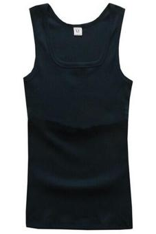 Harga LALANG Men Square Neck Vest Casual Sports Fitness Tank Tops Navy Blue