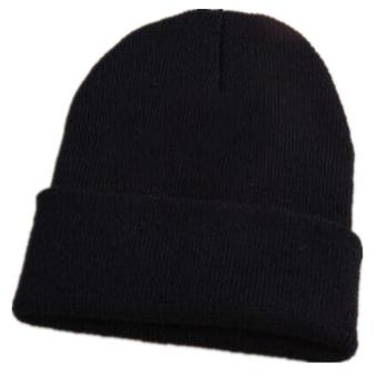 LALANG Fashion Men Women Candy Color Knitted Beanie Hat Cap Black