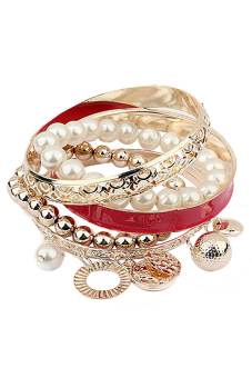 Bluelans Multi-Layer Hand Pearl Beads Chain Bracelet (Red)