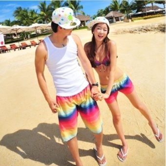 Harga Women Summer beach shorts quick drying couple beach pants rainbow shorts swim beach pants holiday swimsuit - intl