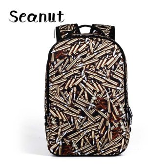 Harga Seanut Fashion One Direction State high school students Backpake,Fashion Men Backpacks-Gold bullet - intl