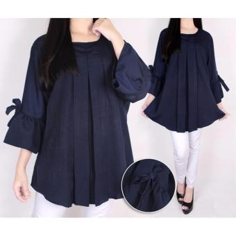Harga Plus Size Plain Blouse Navy