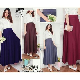 SB Collection Rok Payung Maxi Litta Long Skirt-Coklat