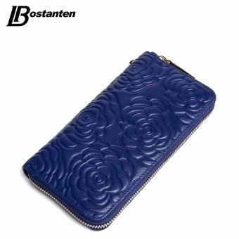 Harga BOSTANTEN Floral Wallet Women Long Lady Clutch Wallet Large Genuine Leather Female Card Holder Wallets Coin Phone Purse Wristlet - intl