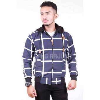Harga Elmer Windowpane Double Side Hoodie Jacket - Navy