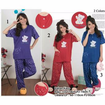 Stelan baju tidur piyama jumbo wanita long pants Three Bear - maron