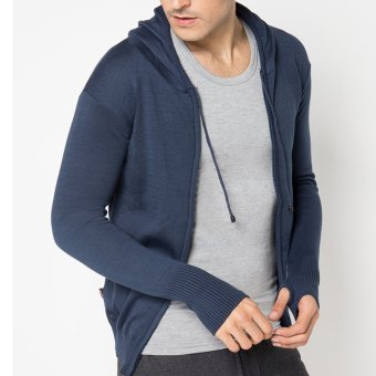 Harga VM Sweater Long Knit Zipper Hoodie Rajut Navy Blue
