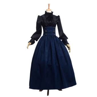 Harga Women's Vintage European Skirt Victorian Civil War Steampunk Walk Skirt Blue - intl