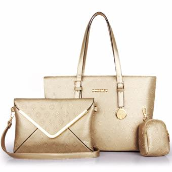 Harga Great Tas Wanita Fashion Korea Korean Style Y34 Best Quality PU Leather 3in1 - Gold