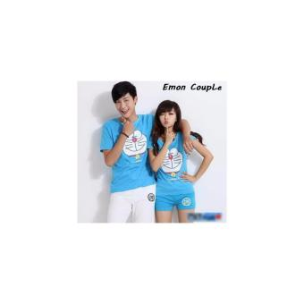 Harga Pusat Couple Cartoon - Baju Couple Murah - Kaos Couple Emon Blue