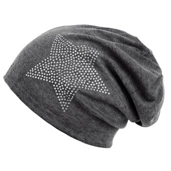 Unisex Classic Five-pointed Star Rhinestone Slouch Beanie Cap Cotton Hat Dark Grey - intl