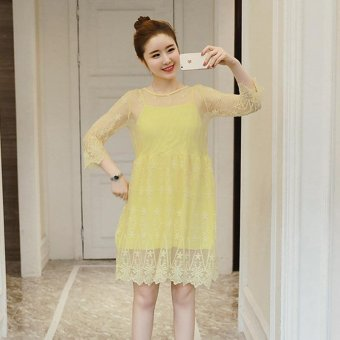 Small Wow Maternity Fashion Round Solid Color Lace Above Knee Dress Yellow intl .