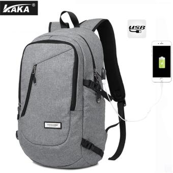 Harga Lan-store Premium Quality Male Backpack-KAKA Brand External USB Charge Laptop Multi-function Antitheft Notebook Bags Waterproof Computer Backpack for Men (Grey) - intl