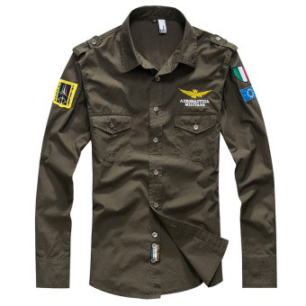 Harga Men Fashion Air Force Flight Suit Casual Style Long-Sleeve Slim Shirt (Army Green) - intl