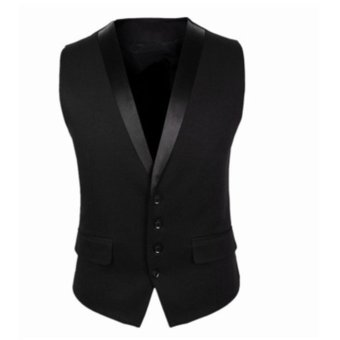 Harga Stylish Men Jacket Suit Vest Slim Fit Vest Casual Business Formal Vest Waistcoat - intl