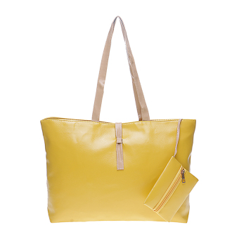Harga Tas Korea Mode Fashion PU Leather Tote Shoulder Handbag Bags - Kuning