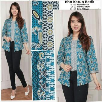 168 Collection Atasan Blouse Abaya Saffa Kemeja Batik-Biru