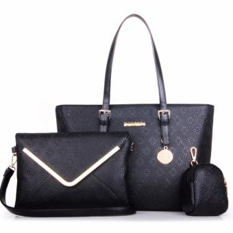 Harga Great Tas Wanita Fashion Korea Korean Style Y34 Best Quality PU Leather 3in1 - Hitam