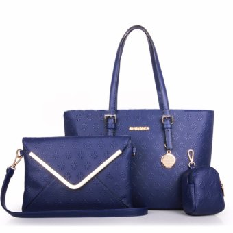 Harga Great Tas Wanita Fashion Korea Korean Style Y34 Best Quality PU Leather 3in1 - Biru