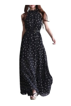 Harga Womens Polka Dots Maxi Long Casual Summer Beach Party Chiffon Dress (Black)