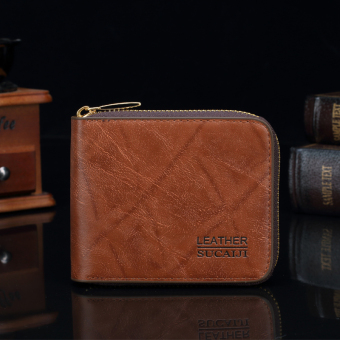 The Short Man And Imitation Leather Zipper Wallet Card Set Of Korean Version Of The New Multi Card (Color:Dark Brown)