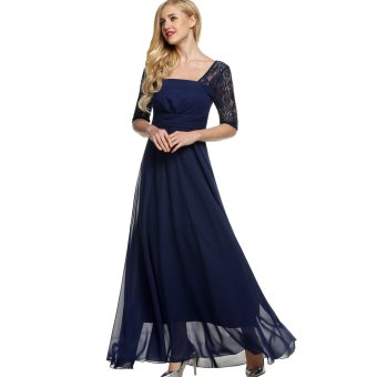 Harga Cyber ANGVNS Elegant Women Square Neck Short Sleeve High Waist Full Gown Lace Party Evening Dress (Navy Blue) - intl
