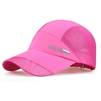 Men Women Plain Baseball Cap Hip-Hop Trucker Mesh Visor Adjustable Snapback Hat (Hot Pink)