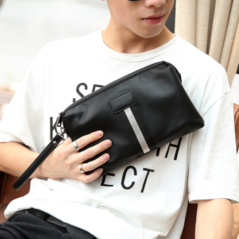 Harga Business Korean New Clutch Fashion Contrast Color Men Wrist Handbag Leisure Clutch -Black